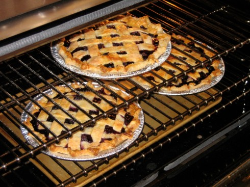 Berry Pies in the oven.