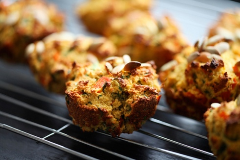 The 10 Cent Designer's Savory Basil, Chickpea & Sweet Potato Muffins